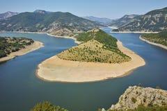 Καταπληκτική άποψη του μαιάνδρου ποταμών Arda και της δεξαμενής Kardzhali Στοκ εικόνες με δικαίωμα ελεύθερης χρήσης