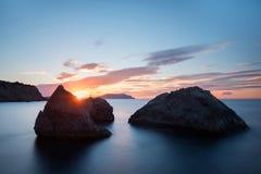 Καταπληκτική ανατολή σε Μαύρη Θάλασσα, Ουκρανία Στοκ Φωτογραφίες