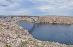 Καταπληκτική γέφυρα Pag στην Κροατία Στοκ Εικόνες