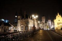 Καταπληκτική νύχτα σε Gent Στοκ Εικόνα
