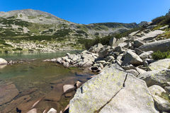 Καταπληκτική πανοραμική άποψη Dalgoto η μακριά λίμνη, βουνό Pirin Στοκ Εικόνες