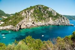 Καταπληκτική πράσινη παραλία Ελλάδα Κέρκυρα Στοκ φωτογραφίες με δικαίωμα ελεύθερης χρήσης