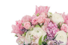 Καταπληκτική ρύθμιση ανθοδεσμών λουλουδιών στα χρώματα κρητιδογραφιών που απομονώνονται επάνω Στοκ Εικόνες