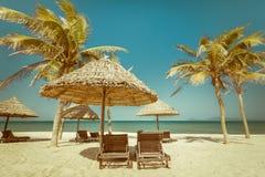 Καταπληκτική τροπική παραλία με τους φοίνικες, τις καρέκλες και την ομπρέλα στοκ εικόνα με δικαίωμα ελεύθερης χρήσης