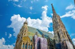 Καταπληκτικός ζωηρόχρωμος καθεδρικός ναός του ST Stephen της Βιέννης Στοκ εικόνες με δικαίωμα ελεύθερης χρήσης