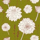 Καταπληκτικό άνευ ραφής εκλεκτής ποιότητας πράσινο floral σχέδιο με Στοκ Εικόνες