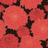 Καταπληκτικό άνευ ραφής μαύρο floral σχέδιο με το κόκκινο Στοκ Εικόνες