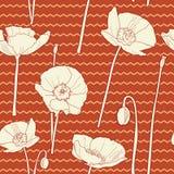 Καταπληκτικό άνευ ραφής floral εκλεκτής ποιότητας ιαπωνικό άσπρος-κόκκινο σχέδιο παπαρουνών απεικόνιση αποθεμάτων