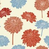 Καταπληκτικό άνευ ραφής floral εκλεκτής ποιότητας ιαπωνικό άσπρος-μπλε σχέδιο Στοκ Φωτογραφία