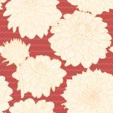 Καταπληκτικό άνευ ραφής floral εκλεκτής ποιότητας ιαπωνικό κόκκινο σχέδιο με τα λωρίδες Στοκ φωτογραφία με δικαίωμα ελεύθερης χρήσης