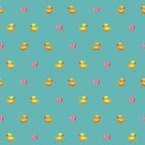 Καταπληκτικό εκλεκτής ποιότητας μπλε σχέδιο παπιών με τις καρδιές Στοκ Εικόνες