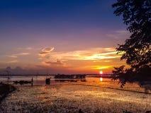 Καταπληκτικό ηλιοβασίλεμα στο haor Kishoreganj, Μπανγκλαντές Στοκ φωτογραφία με δικαίωμα ελεύθερης χρήσης