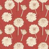 Καταπληκτικό θερμό κόκκινο άνευ ραφής μικρό floral σχέδιο αστέρων με τα σημεία ελεύθερη απεικόνιση δικαιώματος