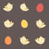 Καταπληκτικό χαριτωμένο άνευ ραφής εκλεκτής ποιότητας ζωηρόχρωμο σχέδιο κοτόπουλου πουλιών Στοκ Εικόνα
