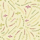 Καταπληκτικό χαριτωμένο άνευ ραφής εκλεκτής ποιότητας ζωηρόχρωμο floral σχέδιο χορταριών Στοκ εικόνα με δικαίωμα ελεύθερης χρήσης