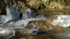 Καταρράκτες βουνών άποψη, την καθαρότητα και τη φρεσκάδα ποταμών στη σε αργή κίνηση της φύσης Χειμερινή ηλιόλουστη ημέρα φιλμ μικρού μήκους