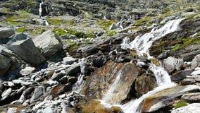 Καταρράκτες που ρέουν στο ειδυλλιακό μη μολυσμένο περιβάλλον που διασχίζει τα πράσινους λιβάδια και τους λίθους στις Άλπεις το κα απόθεμα βίντεο