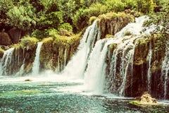 Καταρράκτες Krka, κροατικό εθνικό πάρκο, αναδρομικό φίλτρο Στοκ Εικόνα