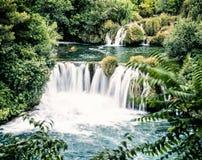 Καταρράκτες Krka, κροατικό εθνικό πάρκο, αναδρομικό φίλτρο Στοκ Εικόνες