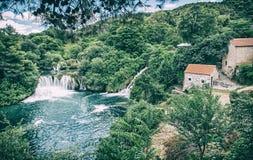 Καταρράκτες Krka, κροατικό εθνικό πάρκο, μπλε φίλτρο Στοκ Εικόνες
