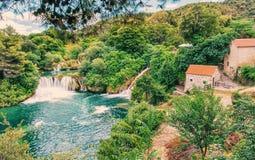 Καταρράκτες Krka, κροατικό εθνικό πάρκο, παλαιό φίλτρο Στοκ φωτογραφία με δικαίωμα ελεύθερης χρήσης