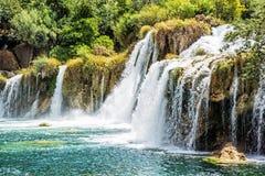 Καταρράκτες Krka, κροατικό εθνικό πάρκο, πλάγια όψη Στοκ Φωτογραφίες