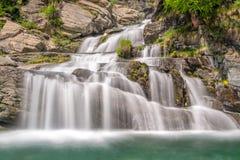Καταρράκτες Lillaz κοντά σε Cogne, εθνικό πάρκο Gran Paradiso, κοιλάδα Aosta, οι Άλπεις, Ιταλία Στοκ Φωτογραφίες