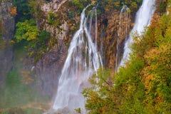 Καταρράκτης οι λίμνες Plitvice το φθινόπωρο Στοκ φωτογραφίες με δικαίωμα ελεύθερης χρήσης