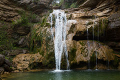 Καταρράκτης στην Καταλωνία που περιβάλλεται από τα όμορφα δάση Στοκ φωτογραφία με δικαίωμα ελεύθερης χρήσης