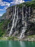 Καταρράκτης geirangerfjord Νορβηγία επτά αδελφών Στοκ Φωτογραφία