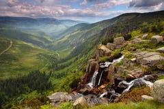 Καταρράκτης Pancavsky στο βουνό Krkonose - Τσεχία στοκ φωτογραφία