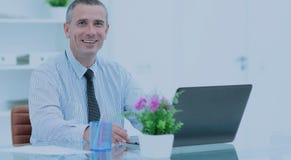Καταρτισμένος δικηγόρος στο γραφείο μπροστά από το ανοικτό lap-top στο θόριο Στοκ Εικόνες