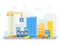 Κατασκευές κινούμενων σχεδίων που στηρίζονται στο υπόβαθρο της περιοχής πόλης διάνυσμα ελεύθερη απεικόνιση δικαιώματος