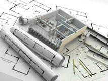Κατασκευή Ανανεώσιμες ενέργειες Ακίνητη περιουσία στην Ευρώπη και τις ΗΠΑ Στοκ Εικόνα