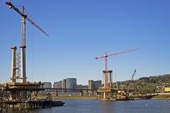 Κατασκευή από τον ποταμό Willamette Στοκ Εικόνες