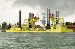 Κατασκευή εμποδίων πλημμυρών της Βενετίας Στοκ φωτογραφία με δικαίωμα ελεύθερης χρήσης