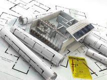 Κατασκευή ενέργεια ανανεώσιμη Ακίνητη περιουσία στην Αμερική Στοκ εικόνες με δικαίωμα ελεύθερης χρήσης