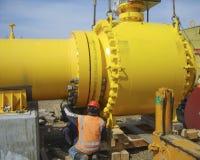 Κατασκευή ενός πετρελαίου και ενός αγωγού υγραερίου Στοκ φωτογραφία με δικαίωμα ελεύθερης χρήσης