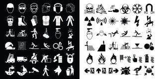 Κατασκευή και συλλογή εικονιδίων προειδοποίησης κινδύνου απεικόνιση αποθεμάτων