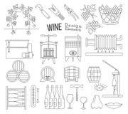 Κατασκευή κρασιού και δοκιμάζοντας στοιχεία σχεδίου κρασιού απεικόνιση αποθεμάτων