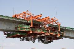 Κατασκευή μιας γέφυρας πέρα από τον ποταμό Chao Phraya Μπανγκόκ Ταϊλάνδη Στοκ Φωτογραφία