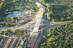 Κατασκευή μιας νέας οδικής σύνδεσης στην περιφερειακή οδό κοντά στο Ryazan Στοκ Εικόνες