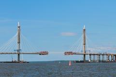 Κατασκευή της γέφυρας μέσω του ποταμού Πετρούπολη Ρωσία ST Στοκ φωτογραφίες με δικαίωμα ελεύθερης χρήσης