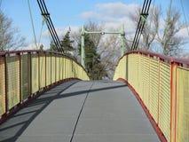 Κατασκευή της γέφυρας σιδήρου πέρα από τον ποταμό στα βαθιά δάση στο midle της Ευρώπης στοκ φωτογραφία
