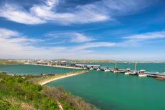 Κατασκευή της της Κριμαίας γέφυρας, αψίδες της γέφυρας Στοκ φωτογραφίες με δικαίωμα ελεύθερης χρήσης