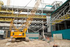 Κατασκευή του εργοστασίου πετροχημικών Tobolsk Στοκ εικόνα με δικαίωμα ελεύθερης χρήσης