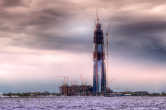 Κατασκευή του ουρανοξύστη στη Αγία Πετρούπολη, Ρωσία Στοκ Εικόνες