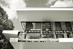 κατασκευή τούβλων που βάζει υπαίθρια την περιοχή μαύρο λευκό Στοκ φωτογραφία με δικαίωμα ελεύθερης χρήσης