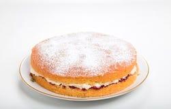 Κατασκευή των κέικ σφουγγαριών, τελειωμένο κέικ σε ένα πιάτο με την κοσκινισμένη ζάχαρη τήξης Στοκ Εικόνες