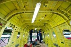Κατασκευή των ρωσικών ελικοπτέρων στο εργοστάσιο αεροσκαφών Στοκ Φωτογραφία